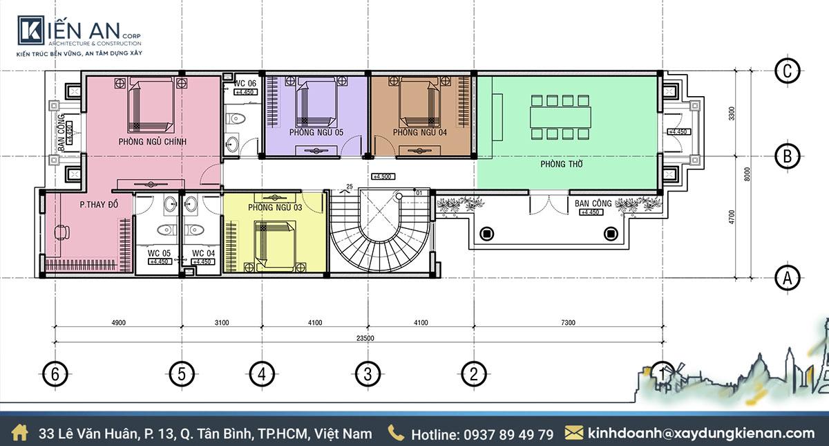 mặt bằng thiết kế biệt thự 2 tầng mái thái