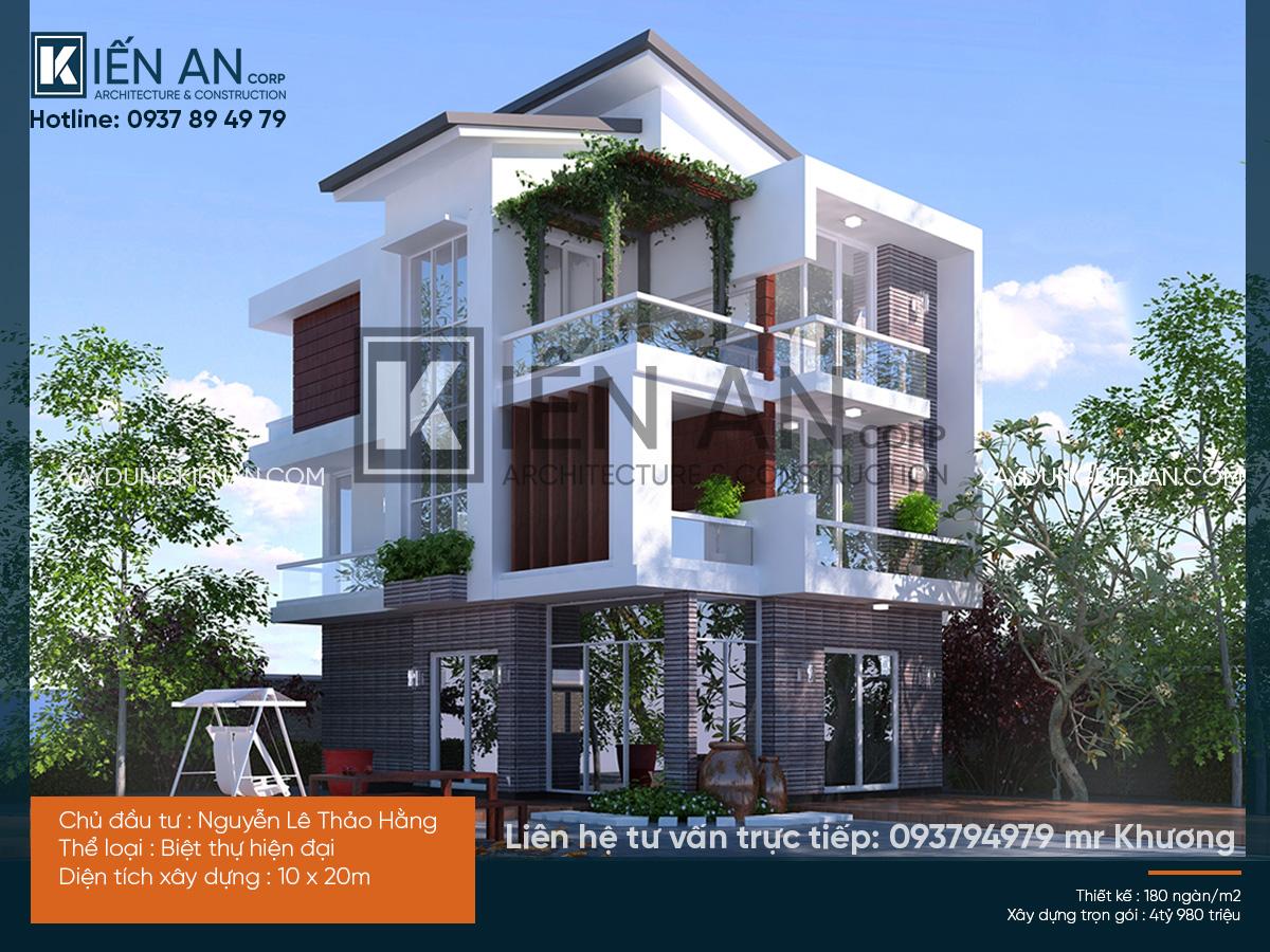 mẫu thiết kế biệt thự hiện đại 3 tầng 10x20m
