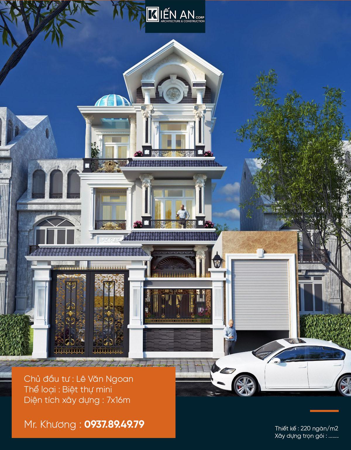 Mẫu biệt thự 3 tầng kiểu pháp - Thiết kế biệt thự mái thái 3 tầng