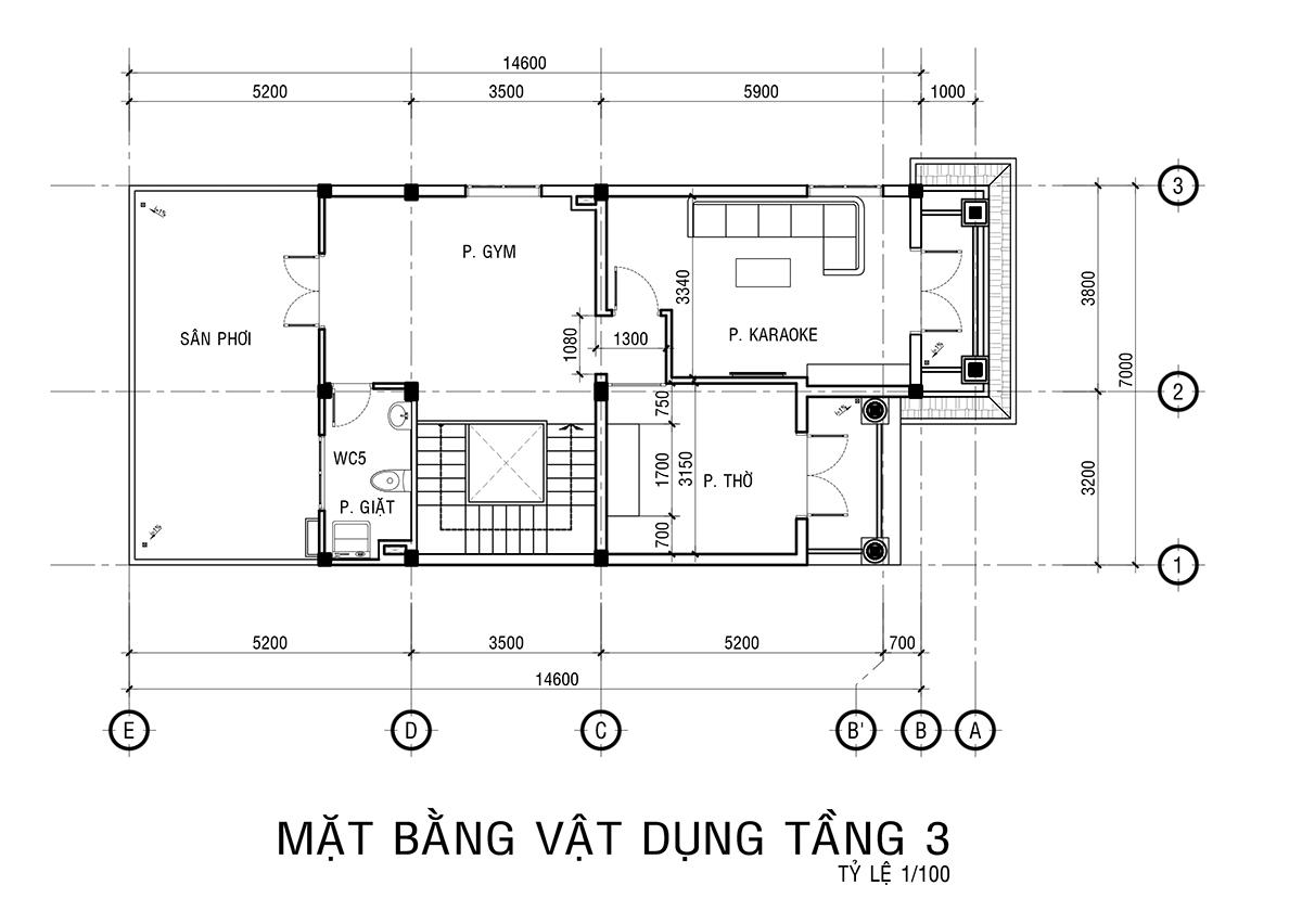 Mẫu biệt thự 3 tầng kiểu pháp
