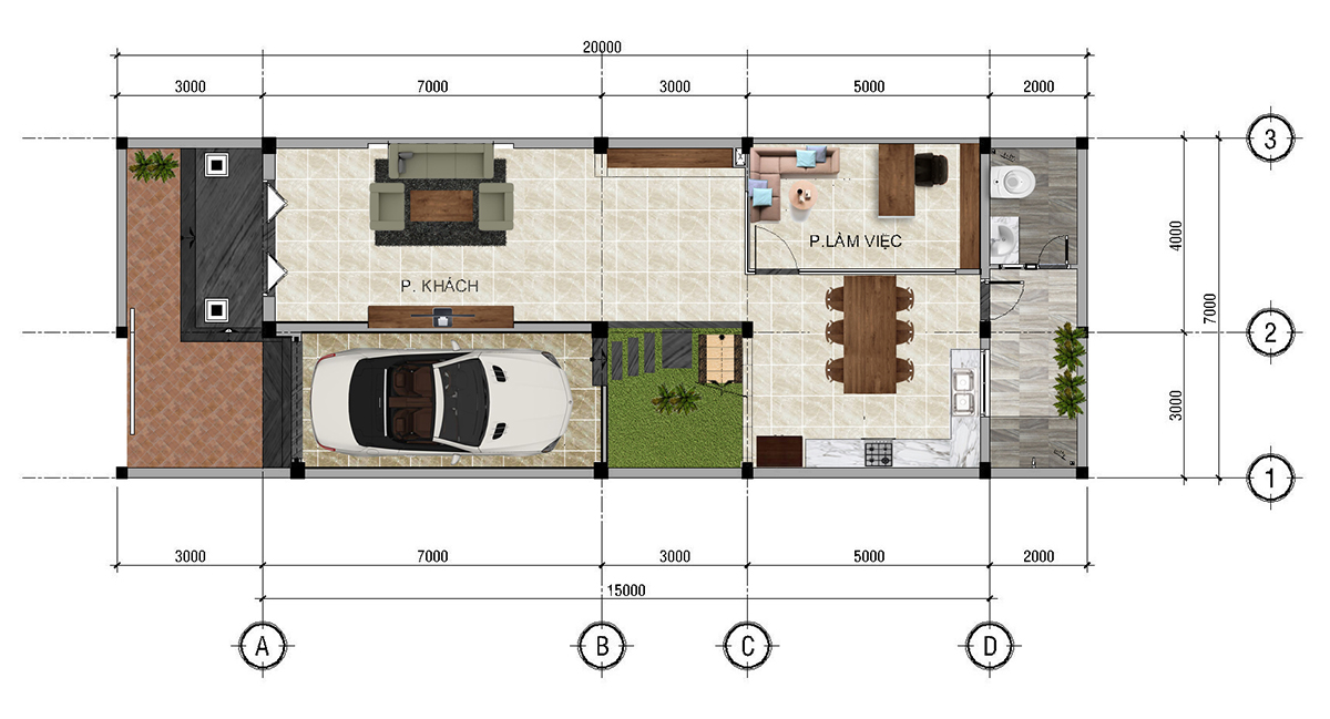 Mẫu biệt thự phố mặt tiền 7m -Thiết kế biệt thự kiểu Pháp đẹp của anh Ẩn- quận 12