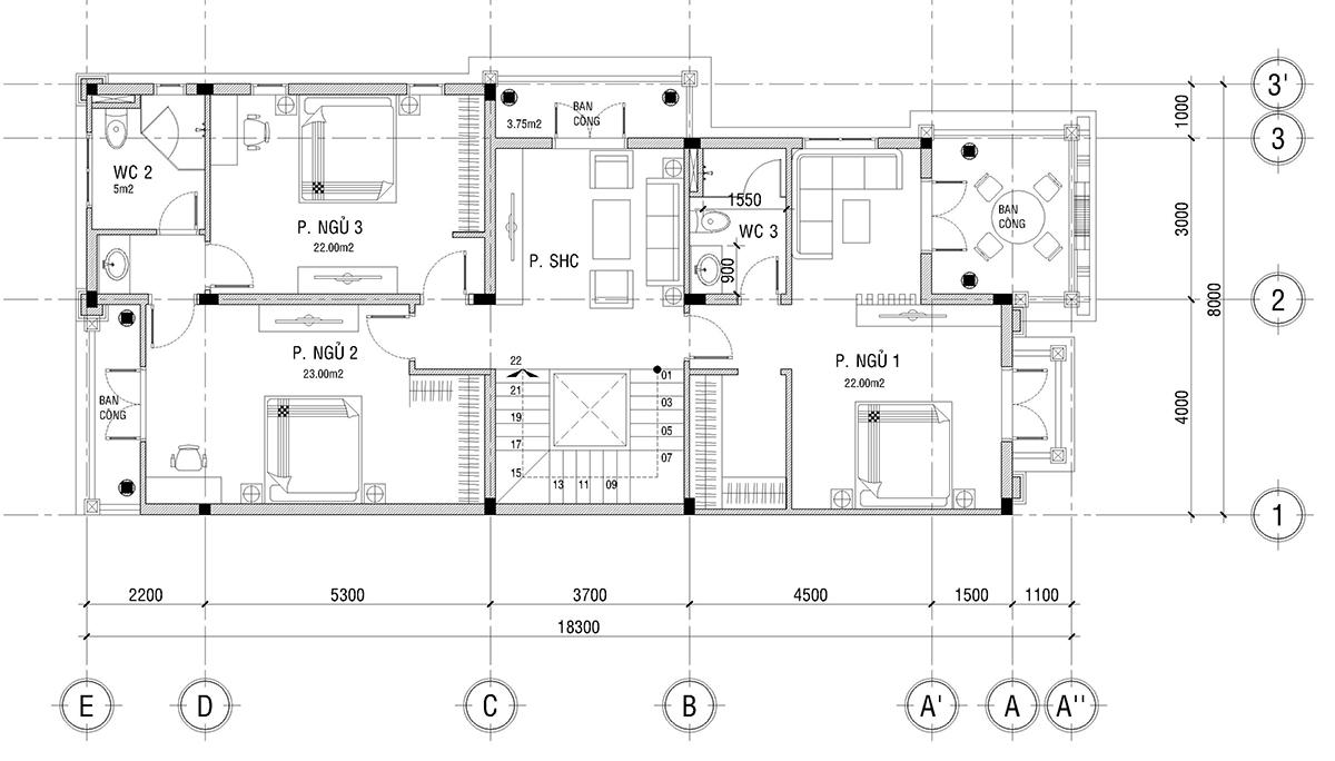 Mẫu biệt thự 2 tầng tân cổ điển