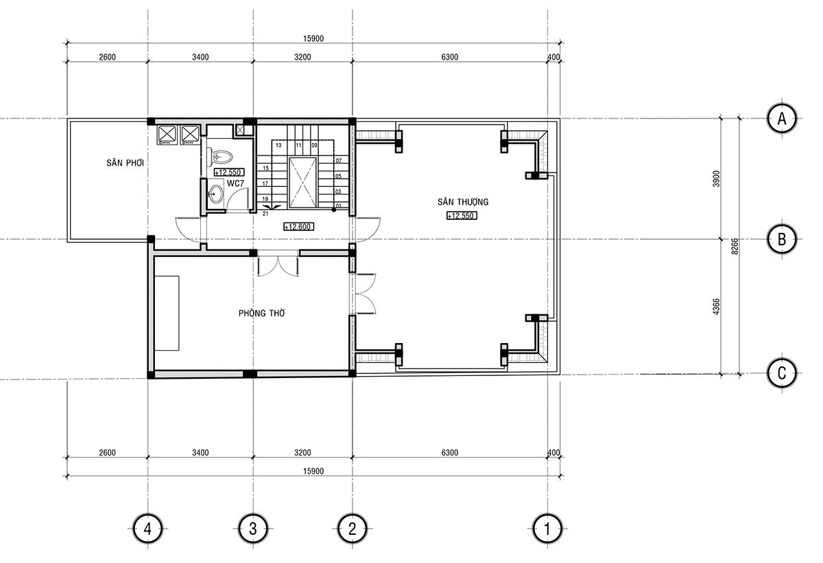 Mặt bằng thiết kế nhà ngang 8m