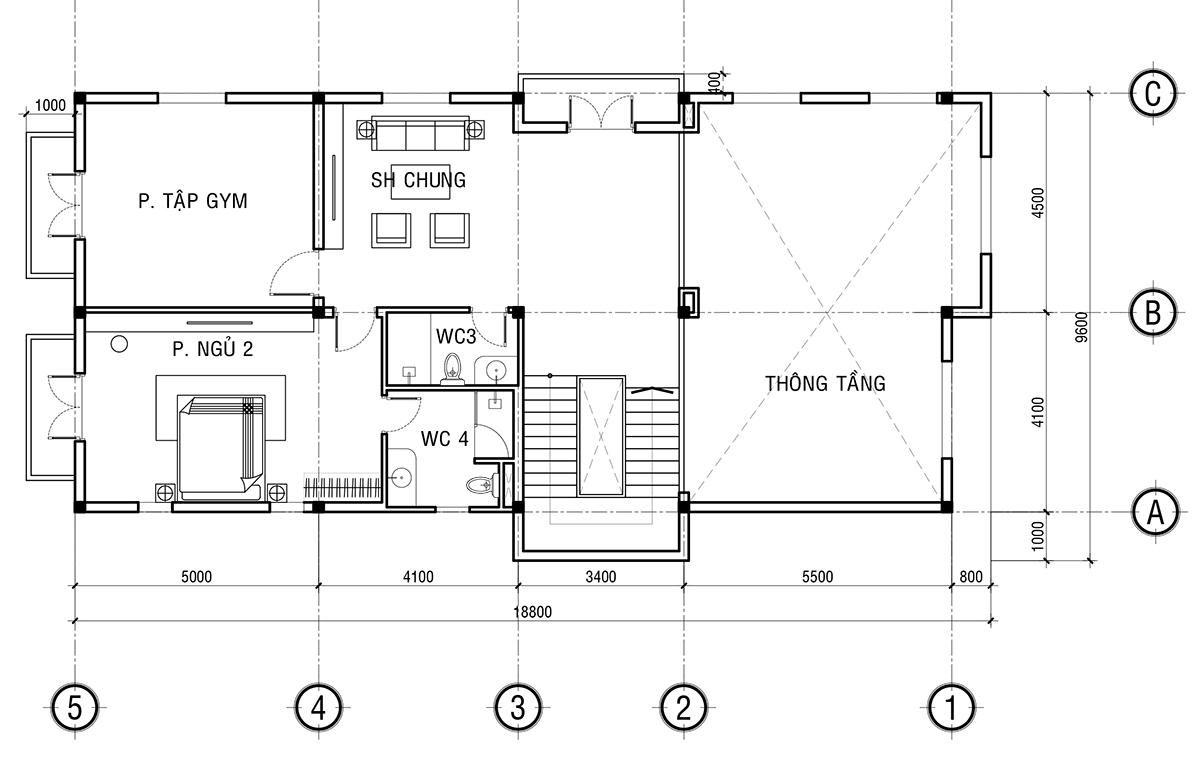 Mẫu thiết kế biệt thự 2 tầng đẹp - Mặt bằng bố trí công năng vật dụng tầng 1.
