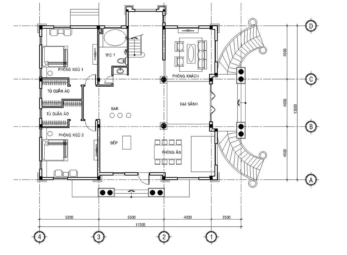 Hình ảnh: Bản vẽ mặt bằng công năng của biệt thự mini tại Quận 5 được bố trí khá khoa học trên diện tích sàn 174m2