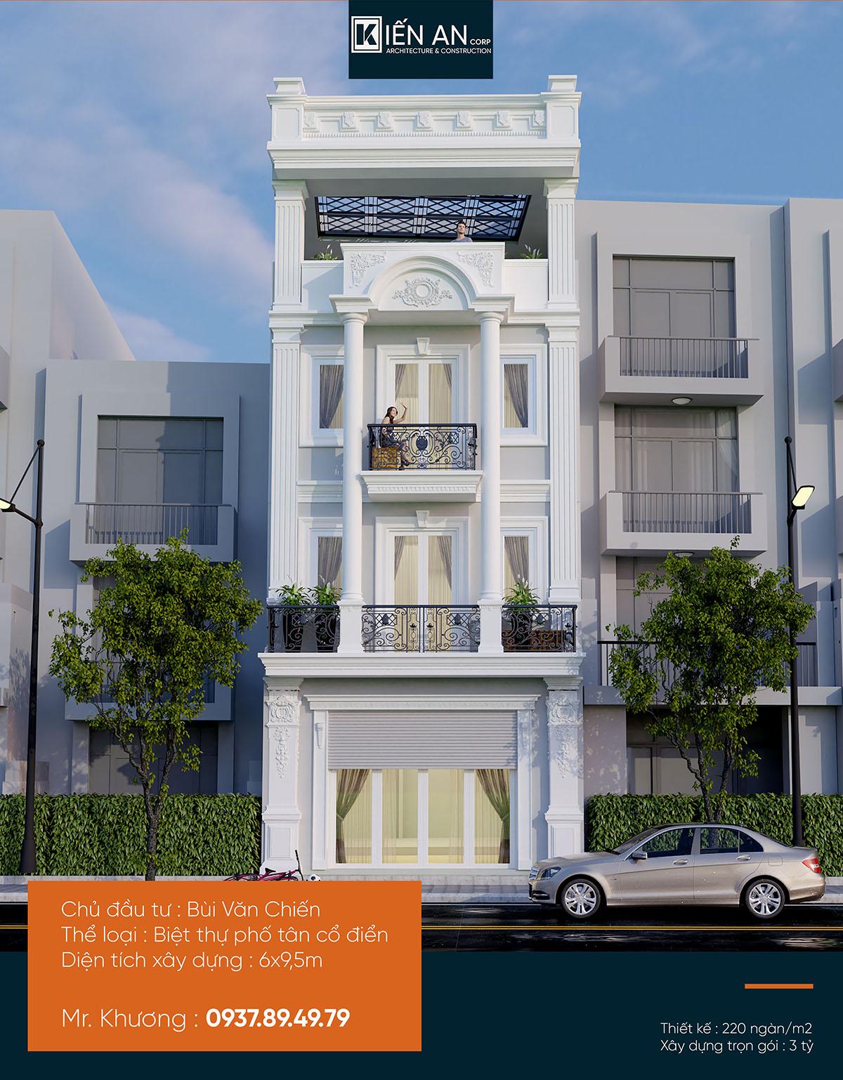 Mẫu nhà phố đẹp 4 tầng – Thiết kế nhà phố cổ điển anh Chiến quận Tân Phú, TP.HCM.