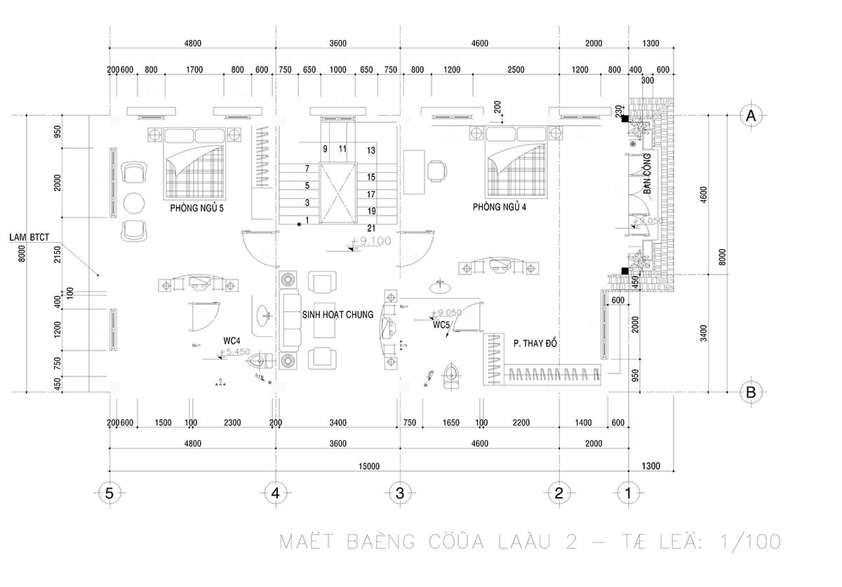 Bản vẽ chi tiết mặt bằng tầng 3 mẫu thiết kế biệt thự 4 tầng kiểu Pháp