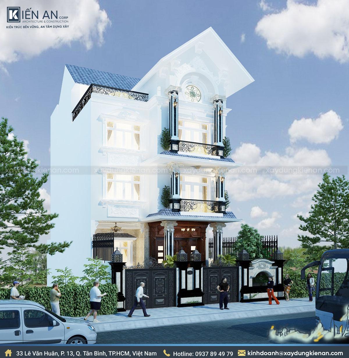 mẫu thiết kế biệt thự 4 tầng kiểu Pháp