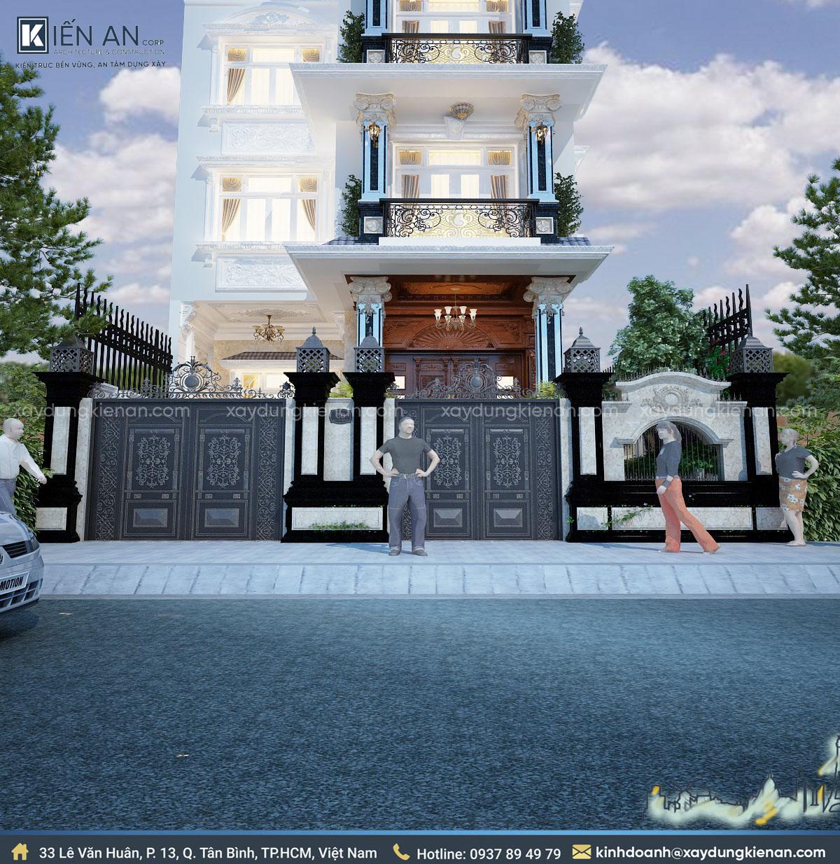 thiết kế biệt thự 4 tầng kiểu Pháp