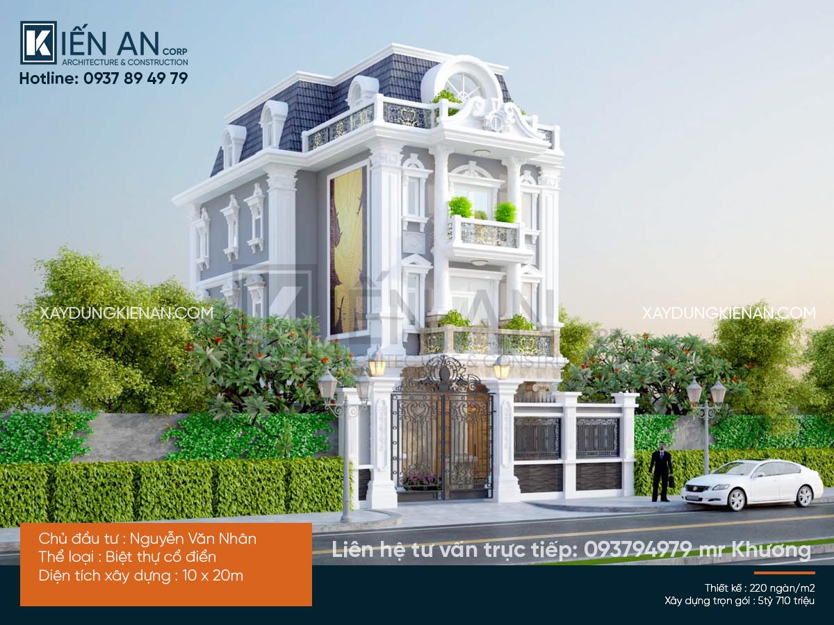 Mẫu thiết kế biệt thự 3 tầng 2 mặt tiền – Phong cách cổ điển bừng sáng ngôi biệt thự 3 tầng của anh Nhân, Thủ Đức, TP. Hồ Chí Minh