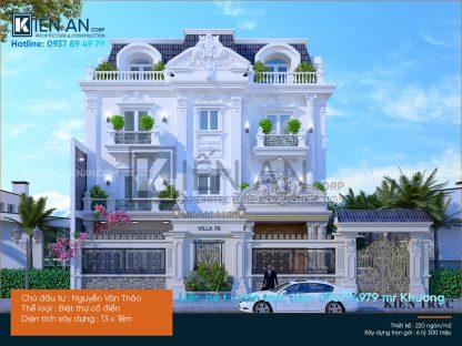 Mẫu thiết kế biệt thự 4 tầng 3 mặt tiền cổ điển đẹp – Thiết kế thấm đẫm phong cách cổ điển Pháp của anh Thảo, Thủ Đức, TP. Hồ Chí Minh