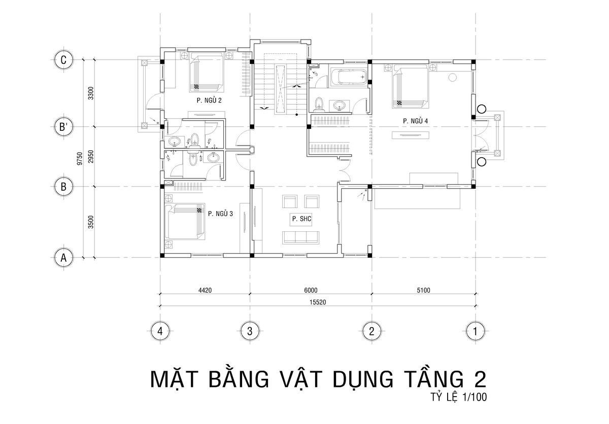 nhà biệt thự 3 tầng 2 mặt tiền