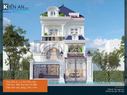 Sang trọng cùng mẫu thiết kế biệt thự 3 tầng tân cổ điển đẹp của chị Vân   Gò Vấp