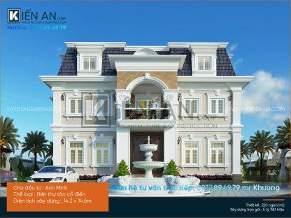 Mẫu thiết kế biệt thự đẹp 2 tầng tân cổ điển của anh Minh tại Thủ Dầu Một tỉnh Bình Dương