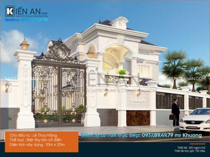 Thiết kế biệt thự vườn 2 tầng của chị Hằng theo phong cách tân cổ điển đẹp tại Bình Dương