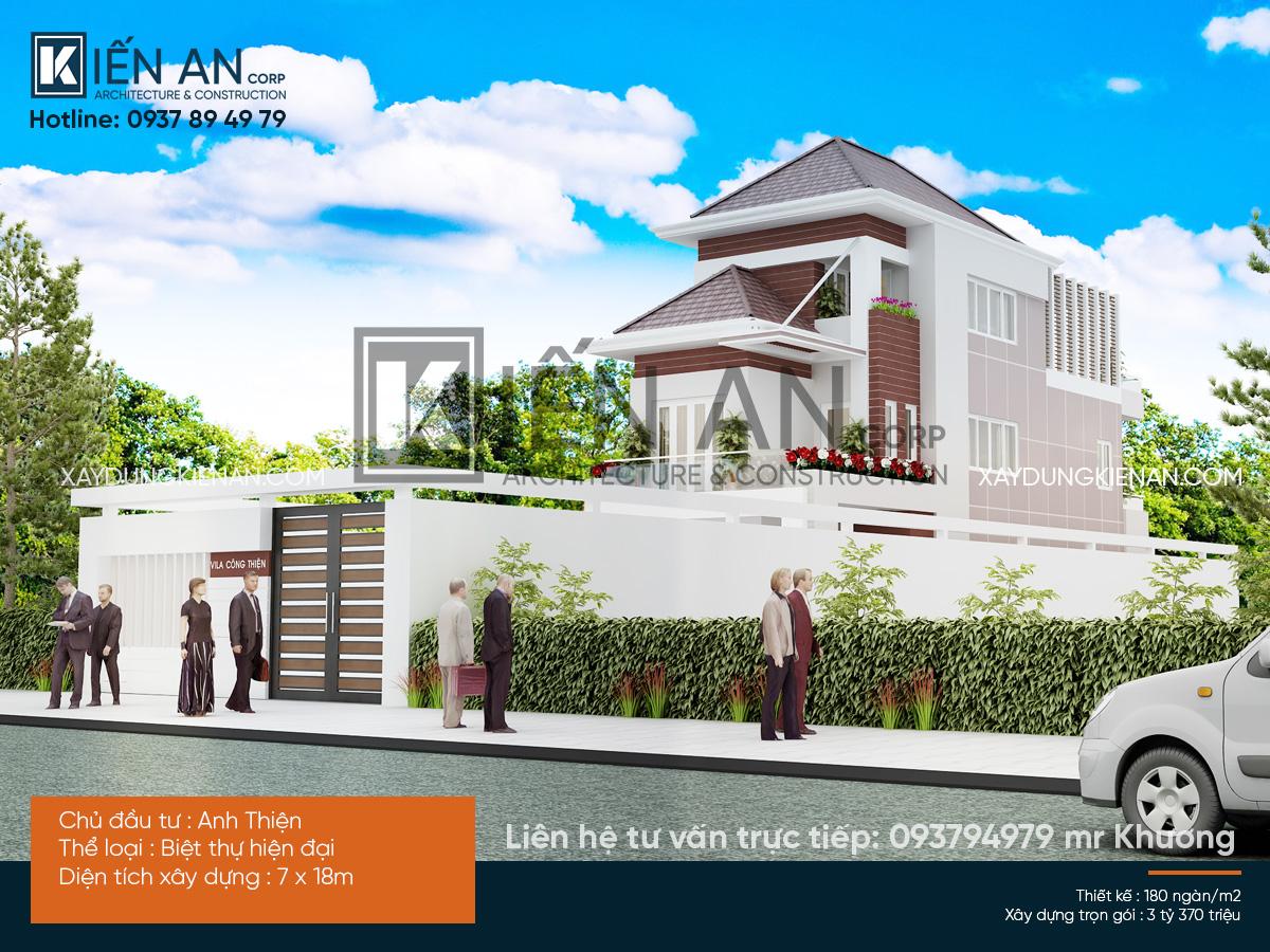 Mẫu thiết kế nhà biệt thự đẹp 3 tầng theo phong cách hiện đại tại huyện Cái Bè – Tỉnh Tiền Giang