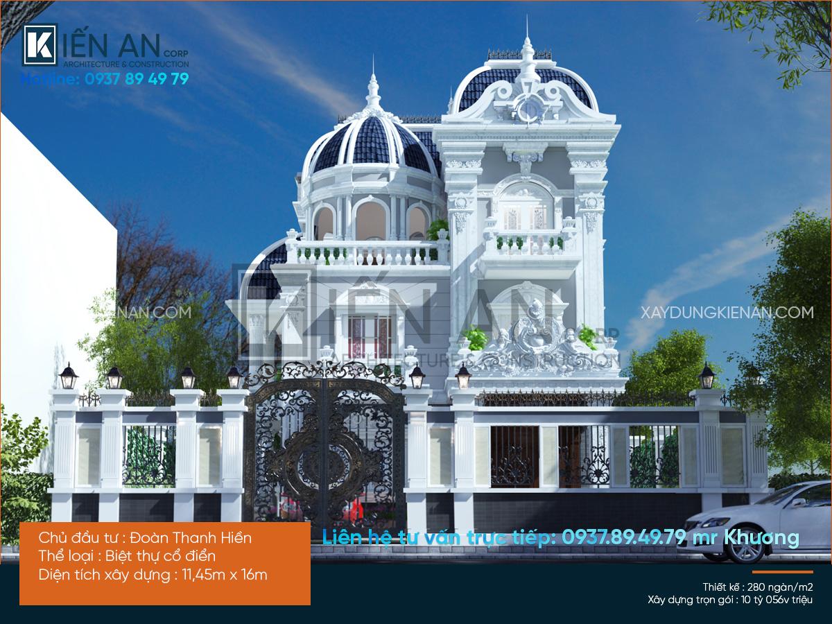 Mẫu thiết kế biệt thự 2 tầng kiểu pháp đẹp đẳng cấp của anh Hiền tại tỉnh Bình Dương