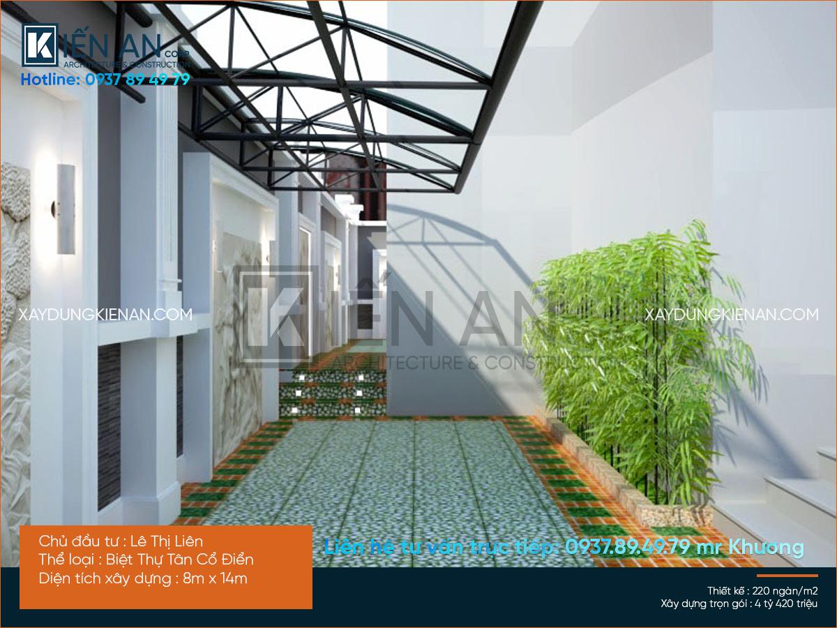 thiết kế biệt thự phố 4 tầng tân cổ điển
