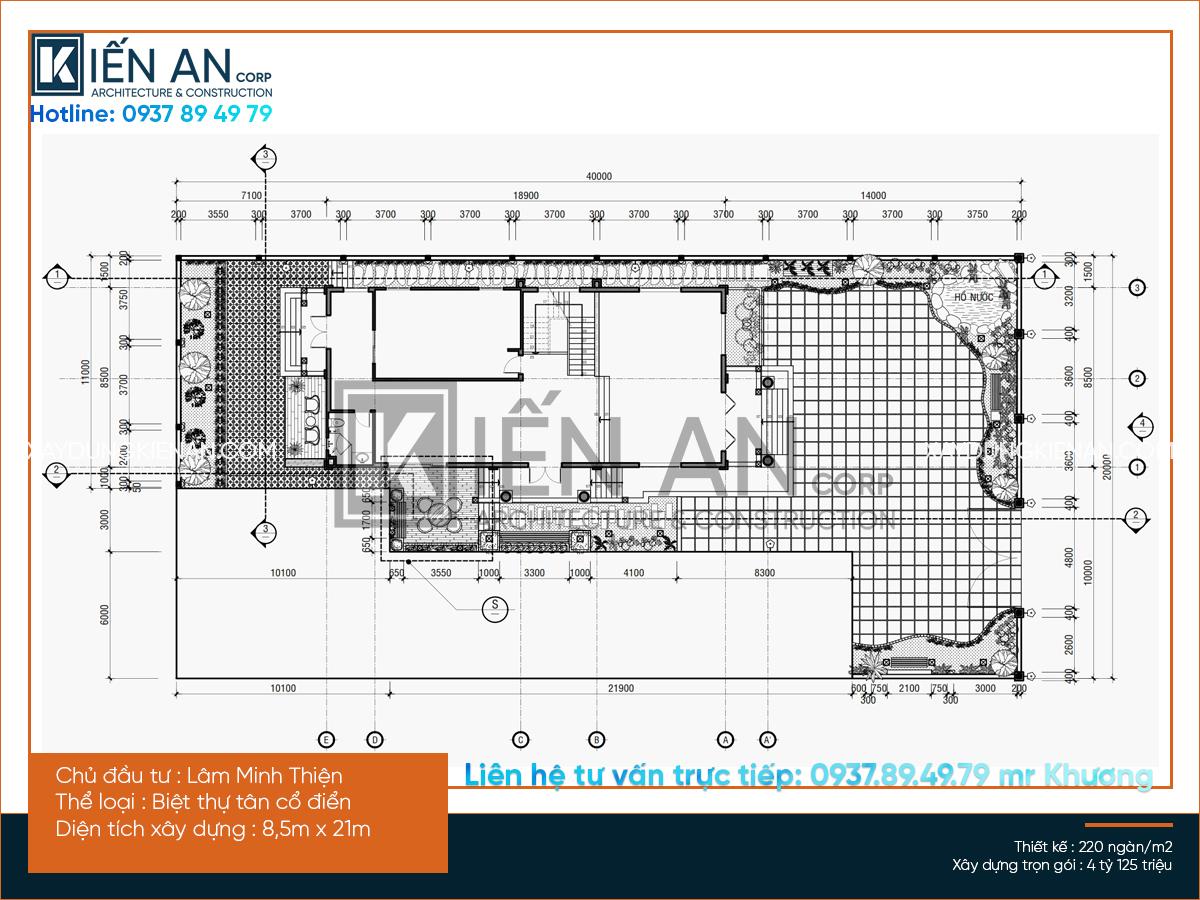 Mặt bằng bố trí công năng biệt thự 3 tầng tân cổ điển : sân vườn