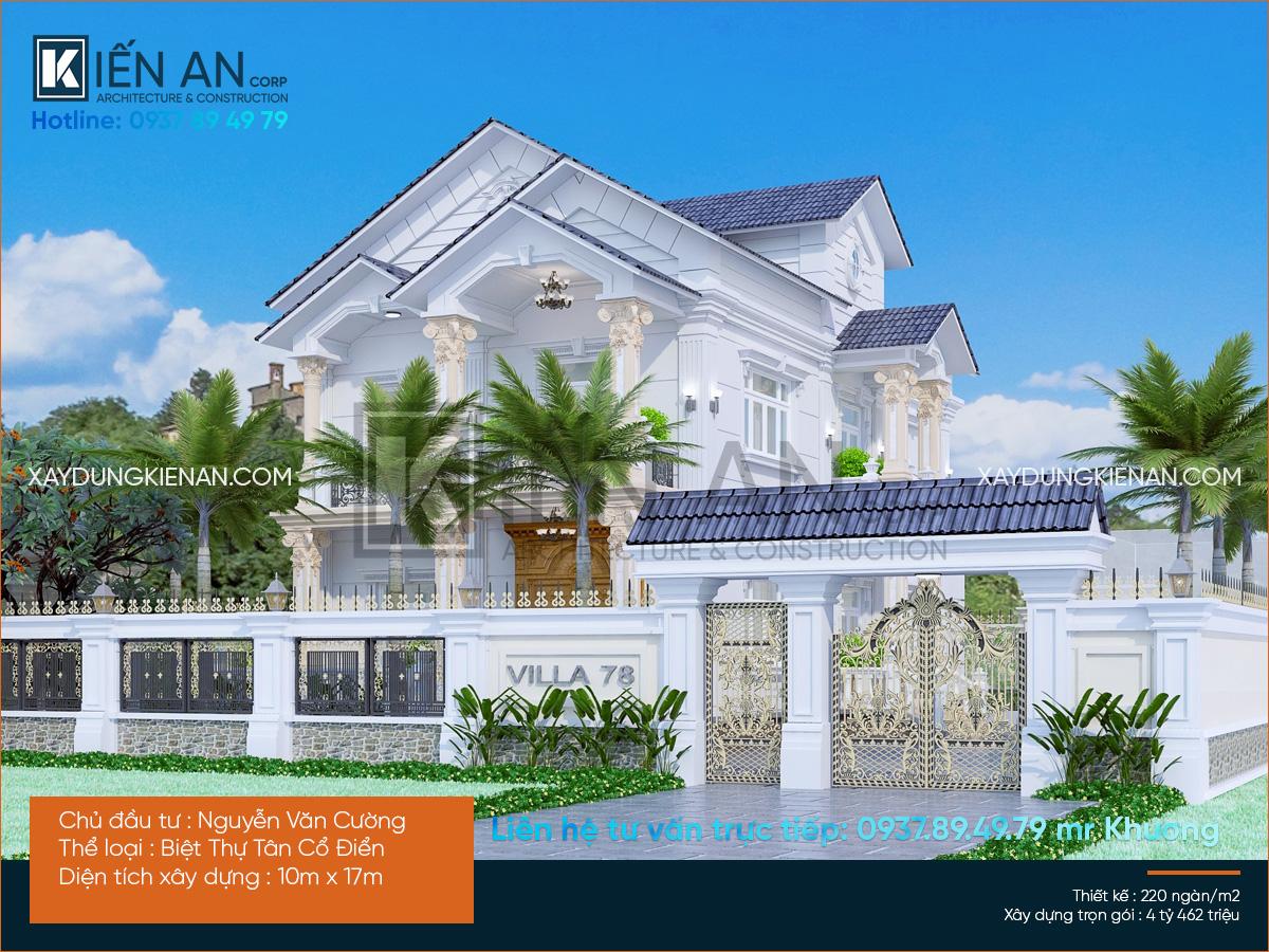 Mẫu thiết kế biệt thự vườn đẹp 2 tầng phong cách tân cổ điển của anh Cường tại Nhơn Trạch – Đồng Nai
