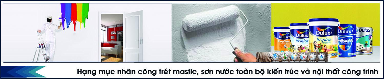 Trét bột bả mastic và sơn nước toàn bộ bên trong và bên ngoài nhà.