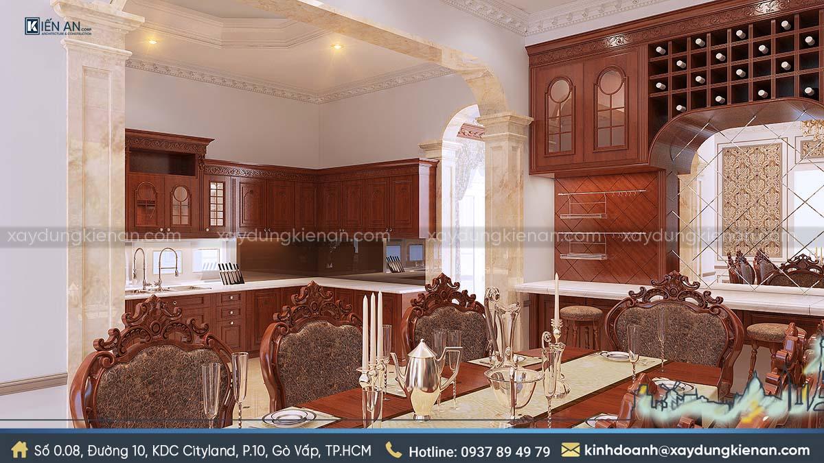 Nội thất bếp biệt thự kiểu châu Âu