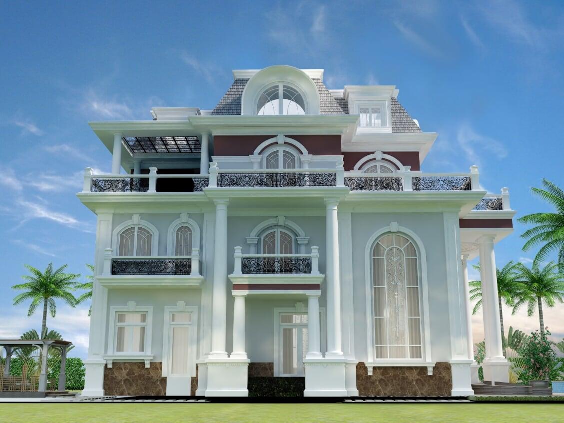 Hình ảnh: Thiết kế biệt thự tân cổ điển 2 tầng với sự kết hợp tinh tế cổ điển và hiện đại