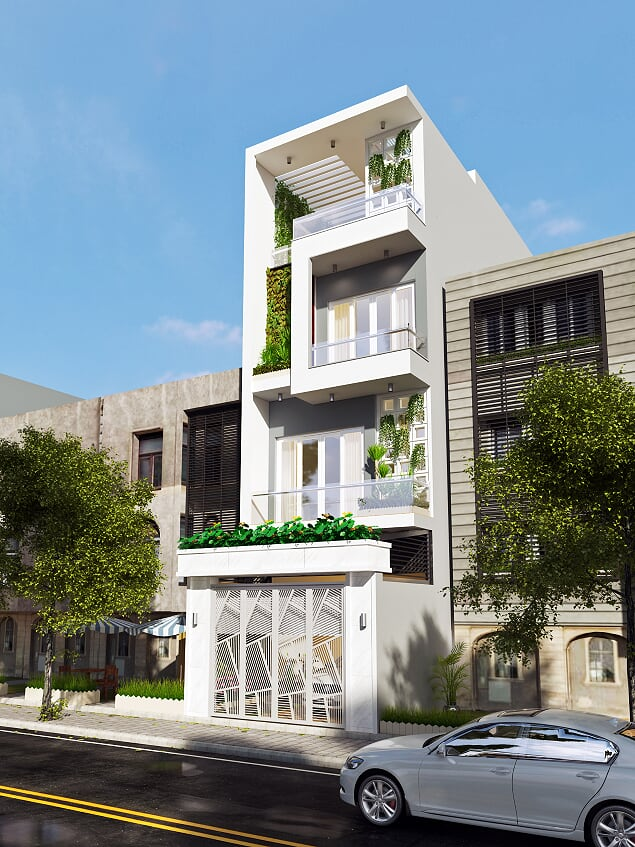 thiết kế nhà phố đẹp mặt tiền 5m