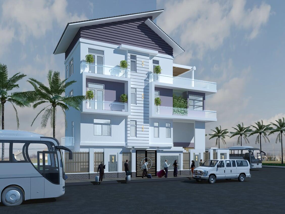 Hình ảnh : tổng quan của mẫu thiết kế biệt thự 2 tầng mái thái mặt tiền đẹp