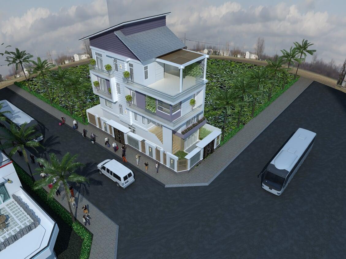 Hình ảnh : phần trên của mẫu thiết kế biệt thự mái thái mặt tiền đẹp