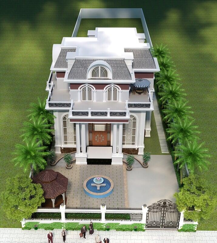 Hình ảnh: Phương án thiết kế biệt thự 2 tầng phong cách tân cổ điển được đánh giá cao