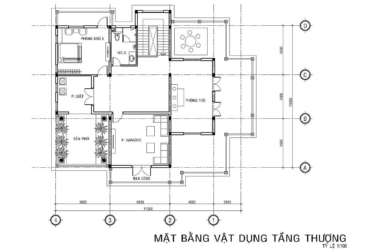 Hình ảnh: Bản vẽ mặt bằng công năng tầng thượng biệt thự tân cổ điển 6 phòng ngủ tại Long An
