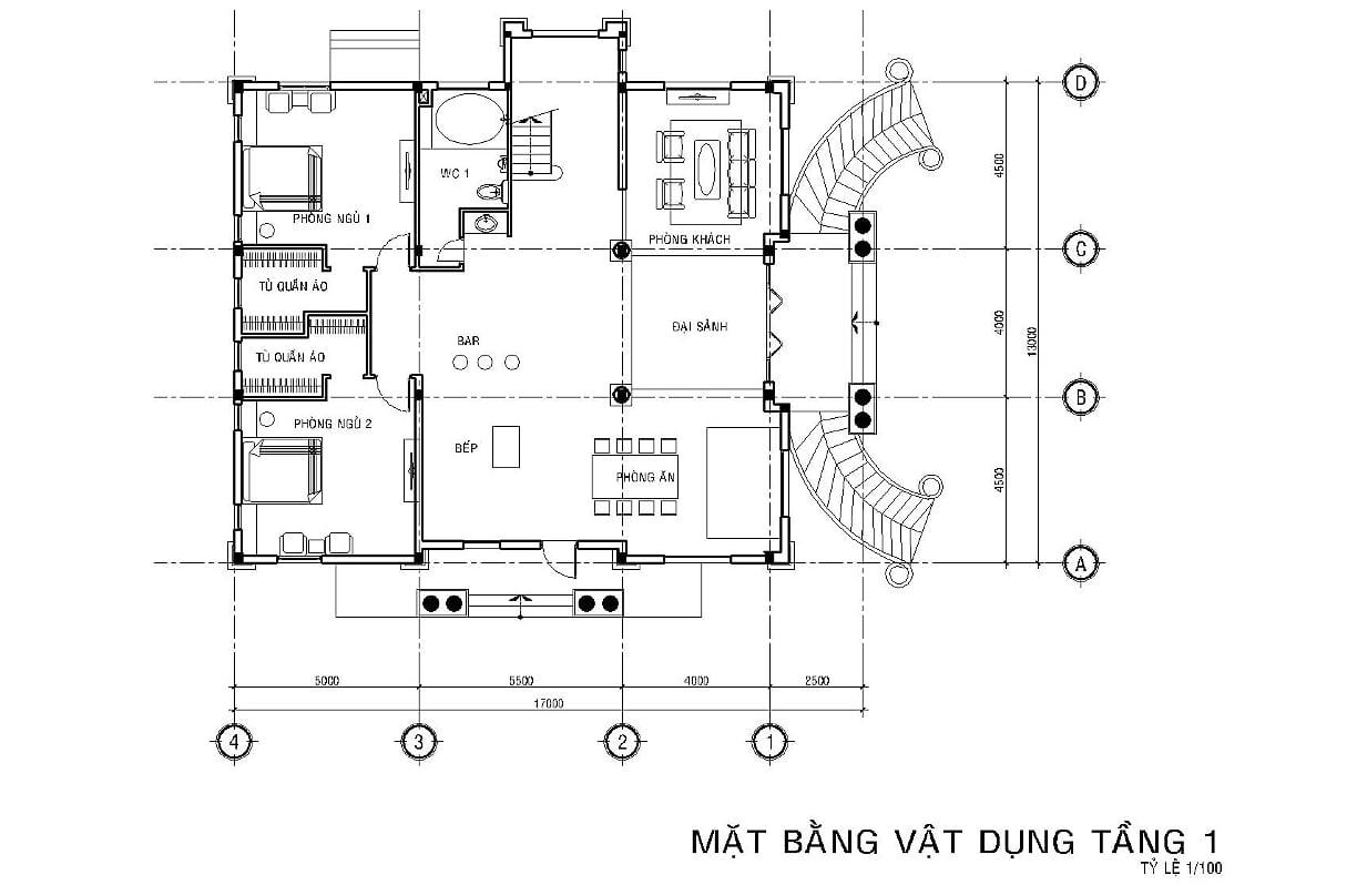 Hình ảnh: Bản vẽ mặt bằng công năng tầng 1 biệt thự tân cổ điển 6 phòng ngủ tại Long An