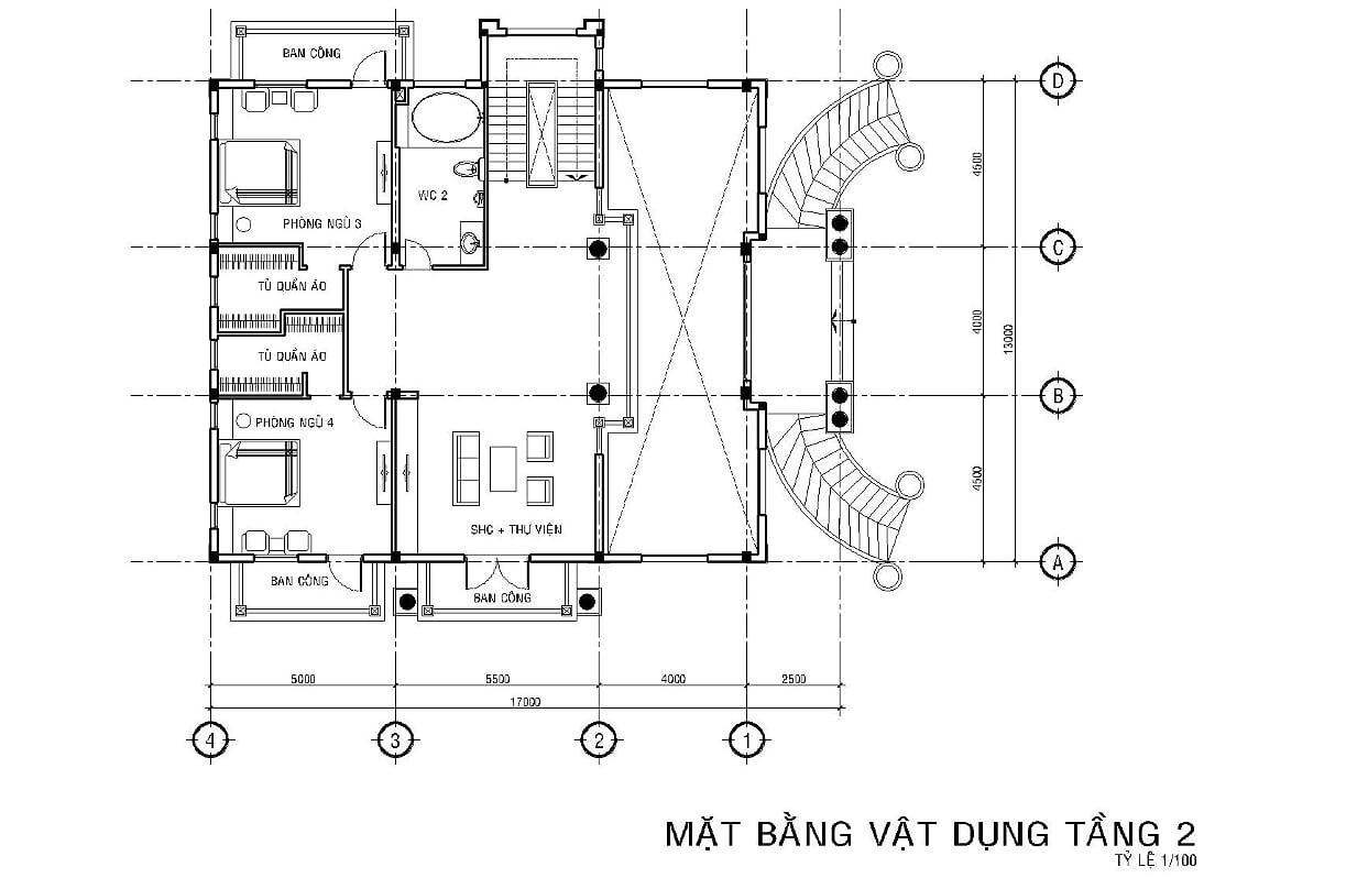 Hình ảnh: Bản vẽ mặt bằng công năng tầng 2 biệt thự tân cổ điển 6 phòng ngủ tại Long An