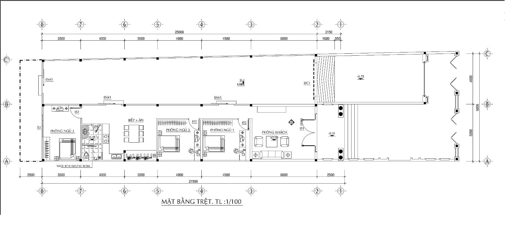 Hình ảnh: Bản vẽ mặt bằng tổng thể ngôi biệt thự 1 tầng mái thái kiến trúc tân cổ điển