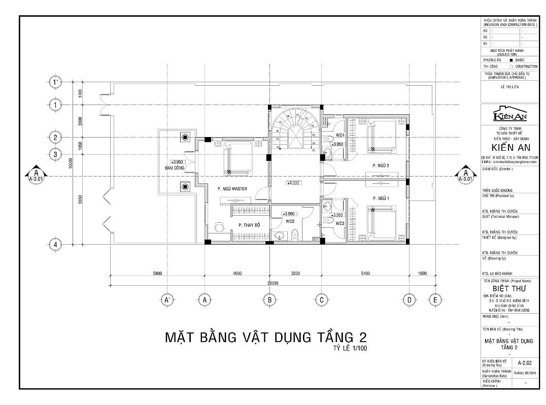 Hình ảnh : mặt bằng tầng 2 của mẫu thiết kế biệt thự hình chữ L