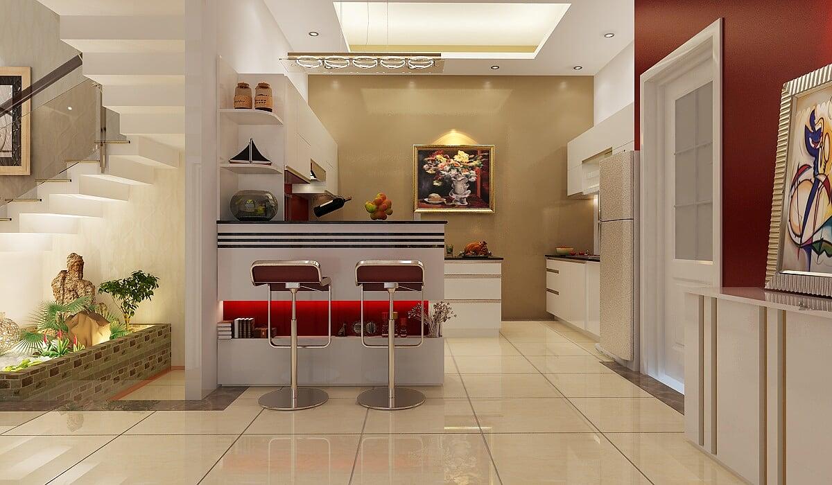 Hình ảnh : phòng bếp tiếp khách của mẫu thiết kế biệt thự Pháp 100m2