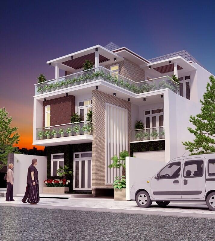mẫu nhà biệt thự hiện đại 2 tầng