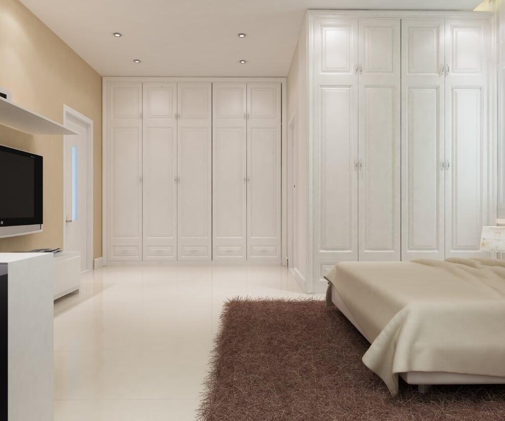 Phòng được trang bị tủ đồ cực lớn cùng với nhà tắm, toilet riêng biệt