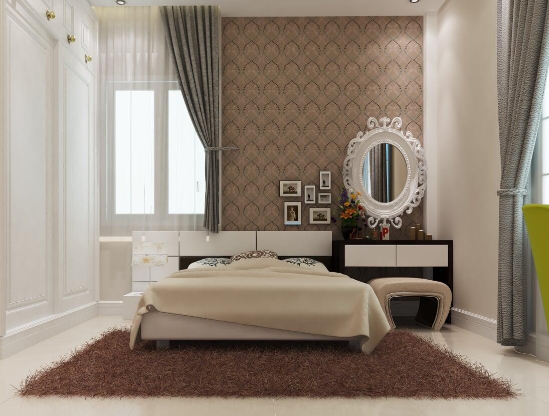 Giường ngủ và bàn trang điểm sang trọng