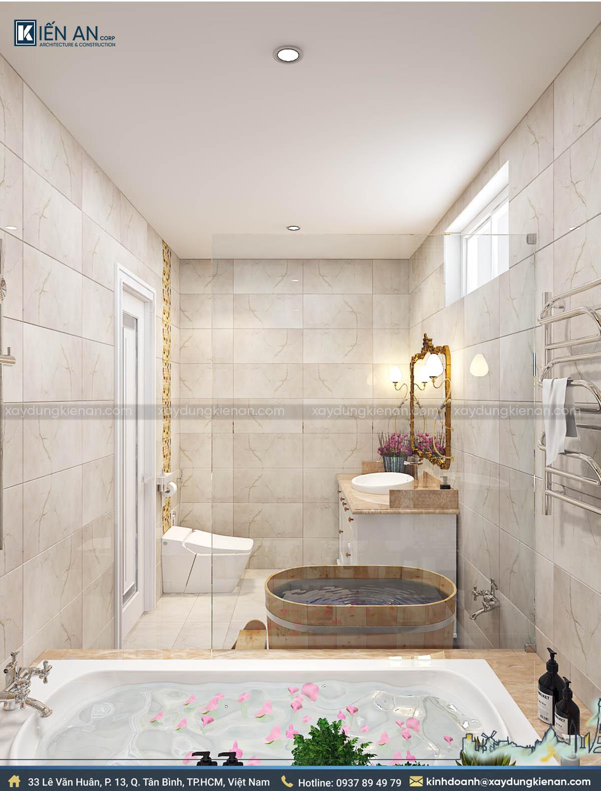 Phòng tắm biệt thự 2 tầng kiểu pháp