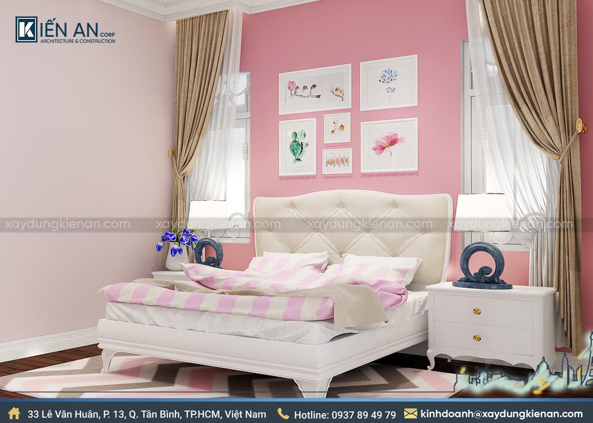 Phòng ngủ bé gái biệt thự 2 tầng kiến trúc pháp