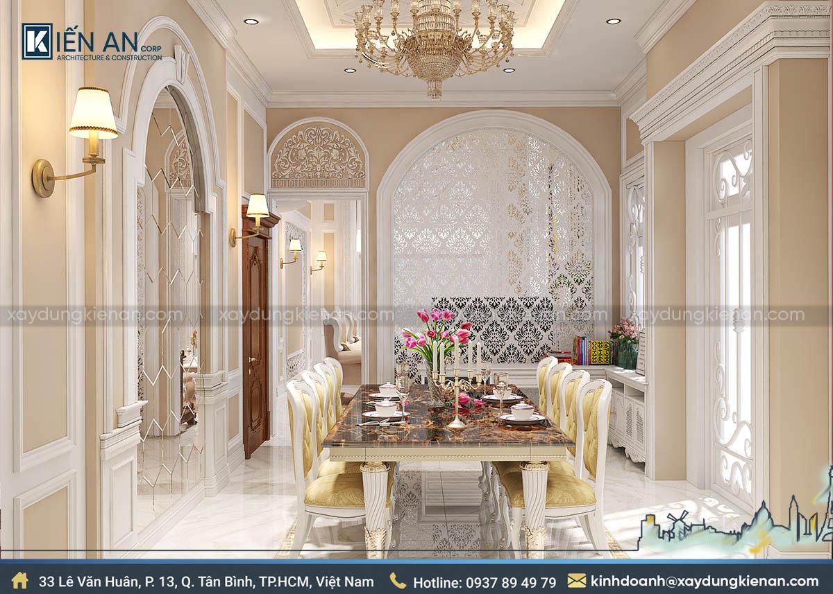 Phòng ăn nhà kiểu pháp 2 tầng