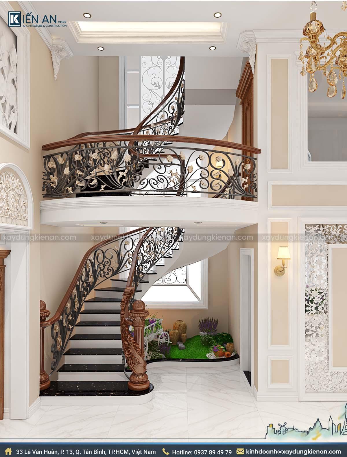 Cầu thang mẫu biệt thự 2 tầng kiểu pháp