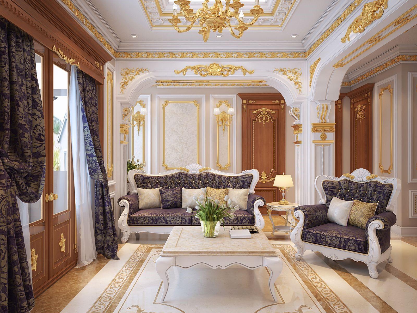 Nội thất trong thiết kế biệt thự Pháp