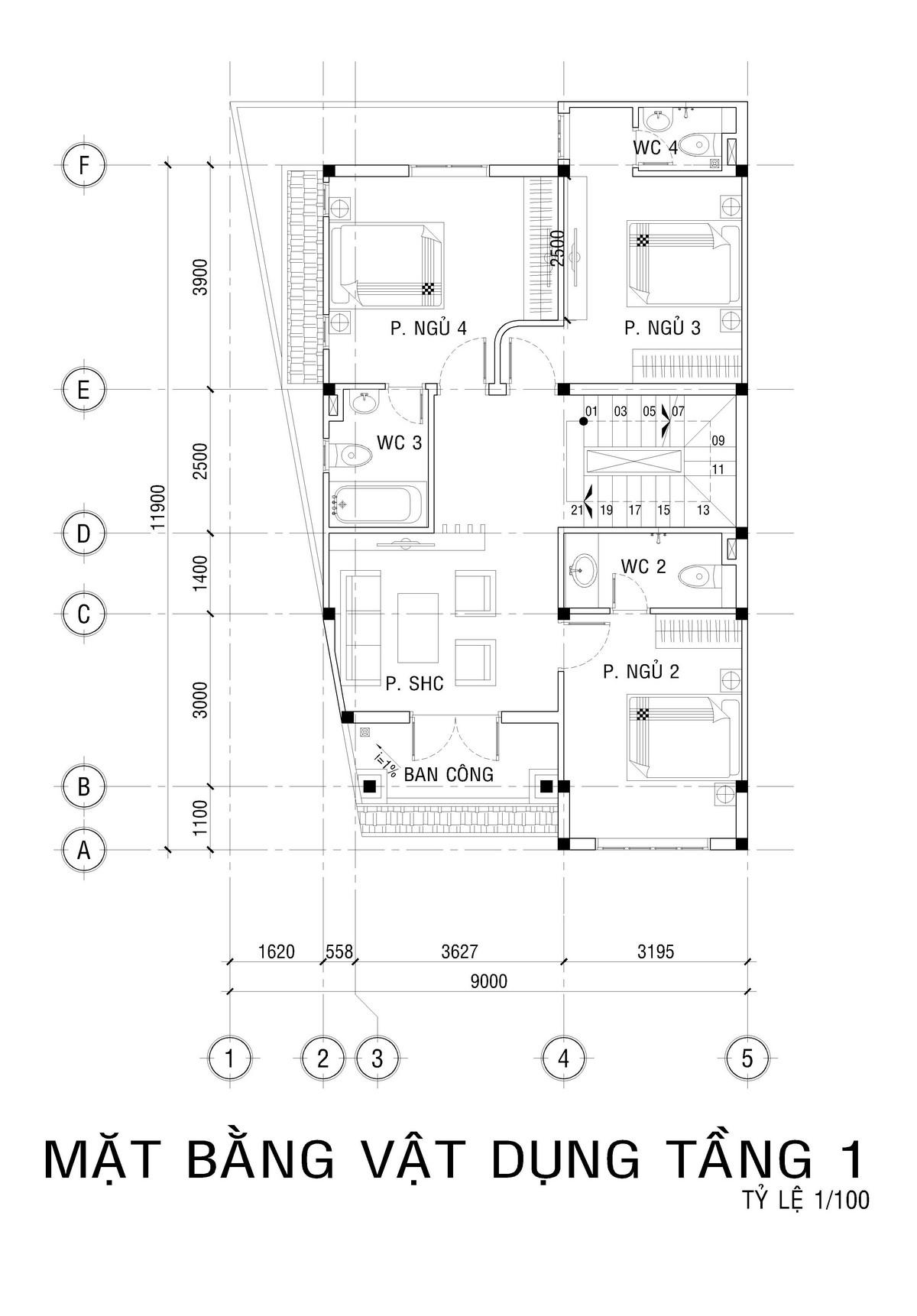 Mặt bằng tầng 2 biệt thự mini 5 phòng ngủ