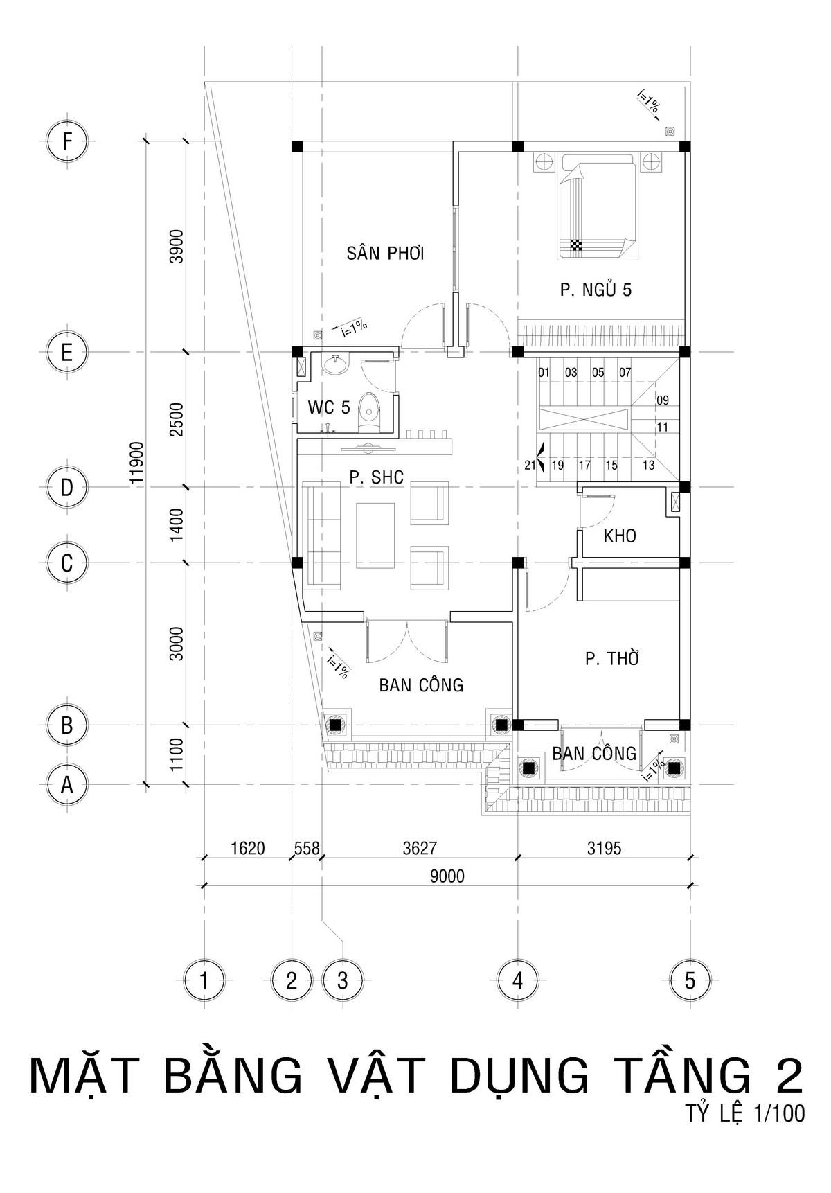 Mặt bằng tầng 3 biệt thự mini 5 phòng ngủ