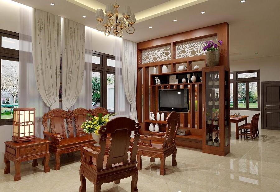 chất liệu của vách ngăn phòng khách bằng gỗ