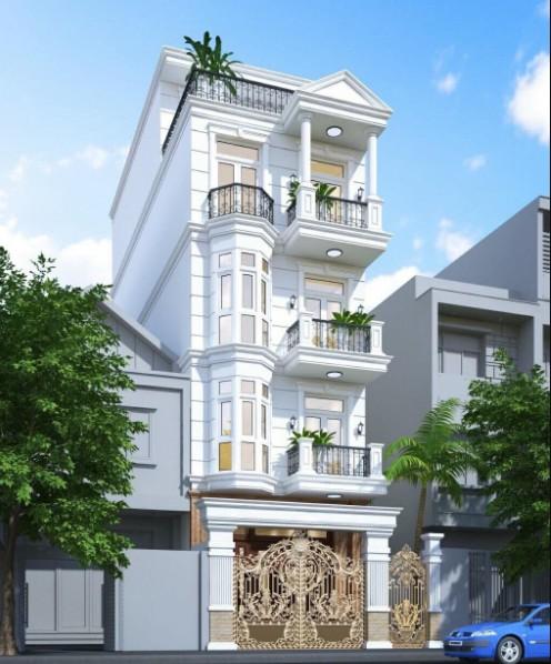 Mẫu thiết kế biệt thự 4 tầng tân cổ điển mặt phố
