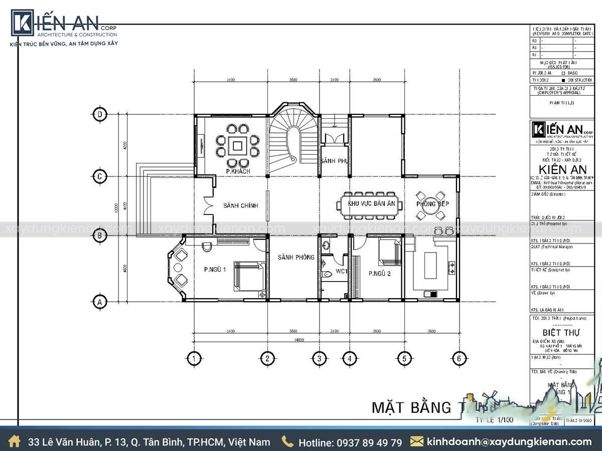 Mặt bằng mẫu nhà hai tầng mái thái